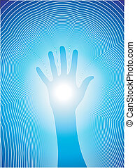 Vectorial illustration of a hand and the reiki line.