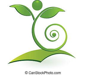Healthy swirly man leaf logo
