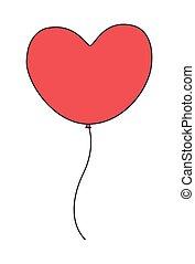 Vintage Red Heart Shape Valentine Balloon Vector Illustration