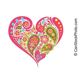Heart floral shape with paisley