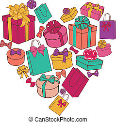 vector heart made of presents