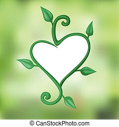Heart of twigs with leaves