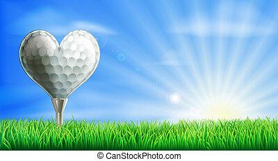 Heart shaped golf ball