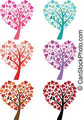 heart tree with birds, vector
