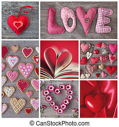 Collage of photos with red hearts