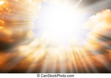 Heaven religion concept - sun rays through the clouds
