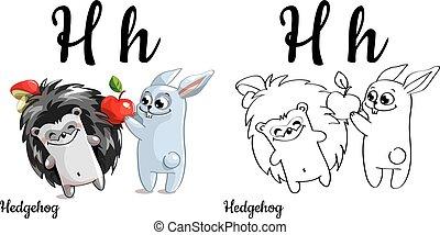 Hedgehog. Vector alphabet letter H, coloring page