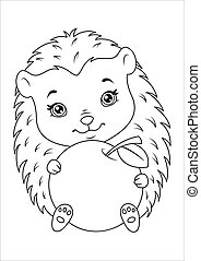 Hedgehog with apple Coloring Page