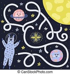 Help the llama astronaut find way to the Moon