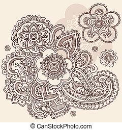 Henna Flower Paisley Doodle Vector