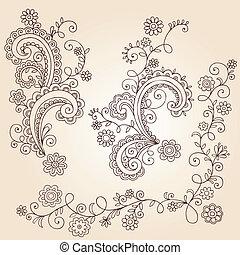 Henna Flower Vines Doodle Vector