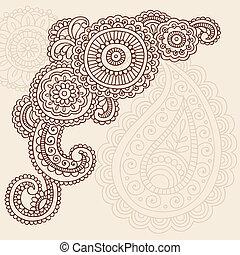 Henna Mehndi Paisley Doodle Tattoo Design Vector Illustration