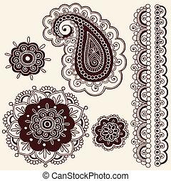 Henna Paisley Flower Doodles Vector