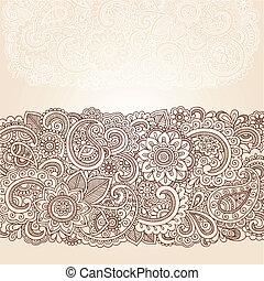 Henna Paisley Flowers Border Design