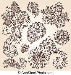 Henna Paisley Vector Flower Set