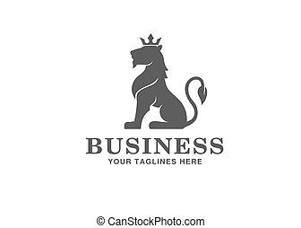 Heraldry sitting Lion with Crown Logo