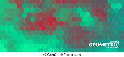 hexagonal geometric banner in duotone colors style