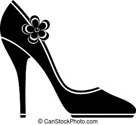 High heel shoes (silhouette) over white. EPS 10, AI, JPEG