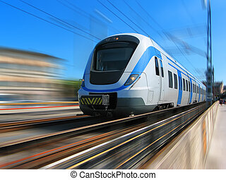 High-speed train with motion blur