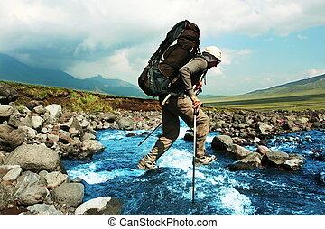 Hiker in Kamchatka