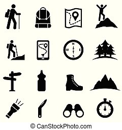 Hiking, recreation and leisure icon set