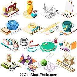 Hobby Crafts Isometric Icons Set