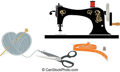 Sewing machine, yarn ball and other accessories