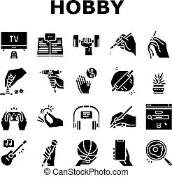 Hobby Leisure Time Collection Icons Set Vector