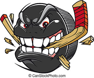 Cartoon hockey puck bites and breaks hockey stick