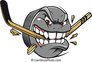 Sport mascot - hockey puck bites and breaks hockey stick