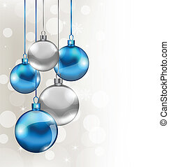 Illustration holiday background with Christmas balls - vector