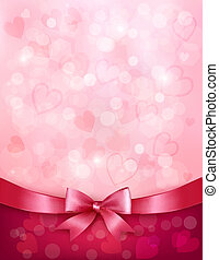 Holiday background with gift pink bow and ribbon. Valentines Day. Vector