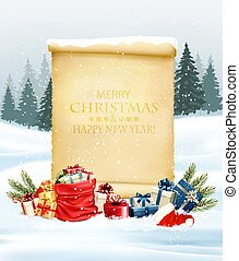 Holiday Christmas background with Santa hat and a gift boxes and old paper. Vector