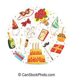 Holiday Symbols of Round Shape, Birthday Party Banner, Poster, Invitation Design Cartoon Vector Illustration