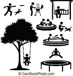 Home Backyard Activity Pictogram