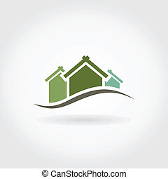 Green background on a grey background. A vector illustration