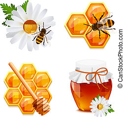 Honey food decorative icons set with daisy bumblebee honeycomb isolated vector illustration