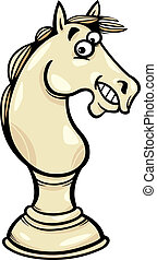 Cartoon Illustration of Funny Horse Chess Pawn