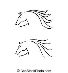 Horse Emblem. Set. Vector