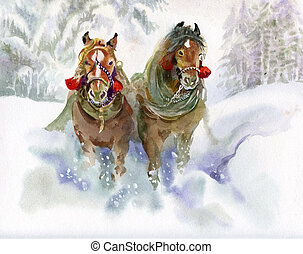 beautiful horse in the snow, painted in watercolor