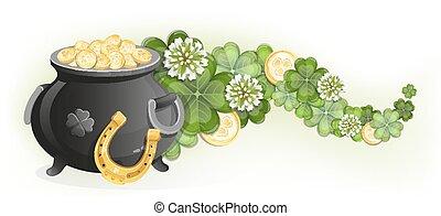Horseshoe and pot of gold