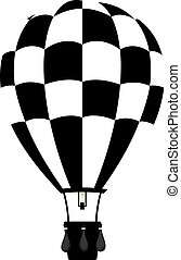 Hot air balloon in black and white colour with basket and burner on white background