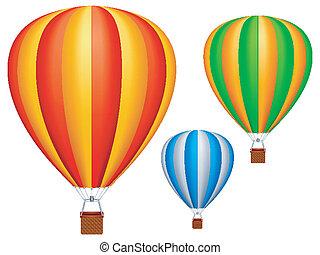Three colorful hot air balloons.