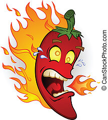 Hot Chili Pepper On Fire Cartoon