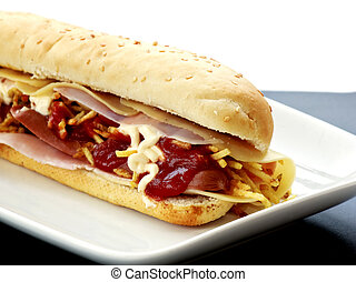 hot dog with cheese and ham