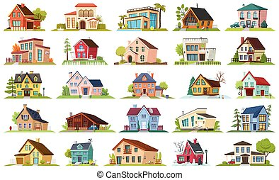 House apartment vector cartoon icon set . Vector illustration building on white background. Isolated cartoon set icon apartment of house for web design.