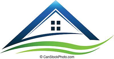 House green sign swoosh vector
