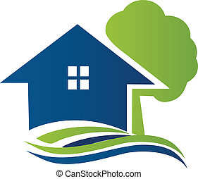 House with tree and waves logo