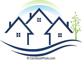 Houses apartments with tree and rainbow logo vector