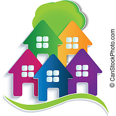 Houses with tree logo